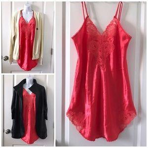 Vintage Satin Slip Dress Lingerie Chemise Medium